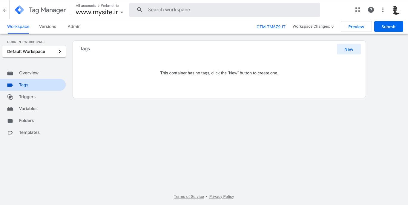 نصب کد اتصال وب متریک در گوگل تگ منیجر